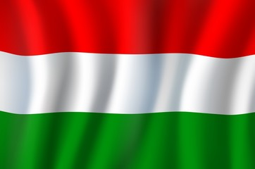 Hungary flag, 3D realistic wavy banner. Vector Europe country national flag of European Union and Schengen, Hungary Independence Day symbol of red, white and green stripes background