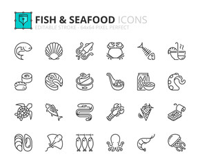 Simple set of outline icons about fish and seafood