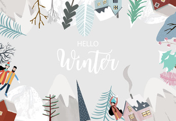 Wall Mural - Collection of Christmas background set with house,snow,mountain.Editable vector illustration for New year invitation,postcard and website banner