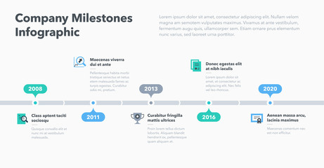 Modern business infographic for company milestones timeline template with flat icons. Easy to use for your website or presentation.