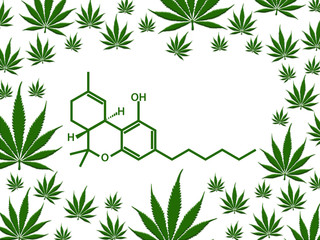 Marijuana chemical structure with green leaf border