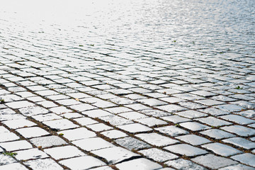 Stone pavers in bright light