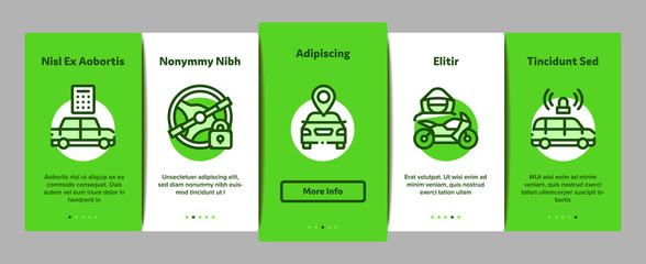 Car Theft Onboarding Mobile App Page Screen. Car Theft On Truck, Thief Silhouette Near Motorcycle And Van, Signaling And Electronic Key Illustrations