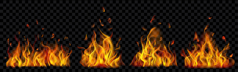 Set of translucent burning campfires of flames and sparks on transparent background. For used on dark illustrations. Transparency only in vector format Fotobehang
