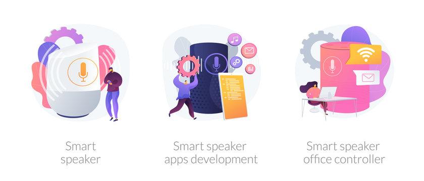 Voice command device icons set. Wireless virtual assistant. Smart speaker, smart speaker apps development, smart speaker office controller metaphors. Vector isolated concept metaphor illustrations