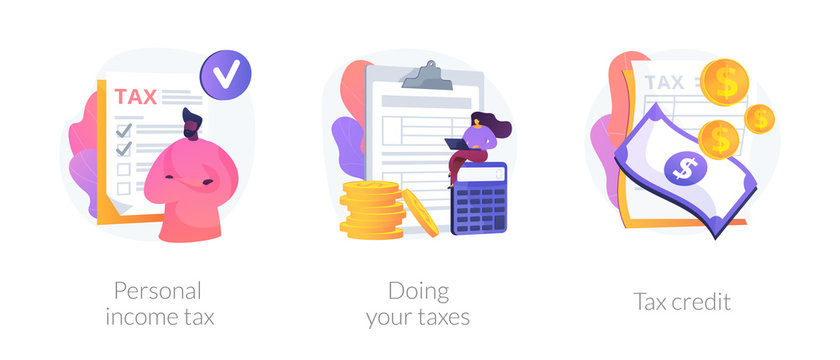 Taxes and fees paying. Financial charge, obligatory payment calculating. Personal income tax, doing your taxes, tax credit metaphors. Vector isolated concept metaphor illustrations