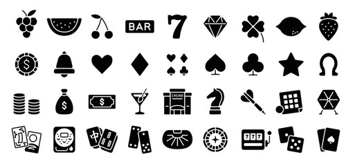 Casino and Gambling Icon Set (Flat Silhouette Version)