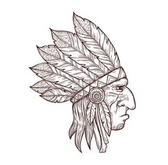 Indian chief head in traditional headdress of eagle feathers, sketch tattoo symbol. Vector Western and native American Indigenous tribe culture symbol of Indian chief warrior, monochrome engraving
