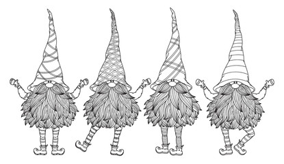 Vector  cute gnomes cartoons, black  silhouette isolated on white for coloring.