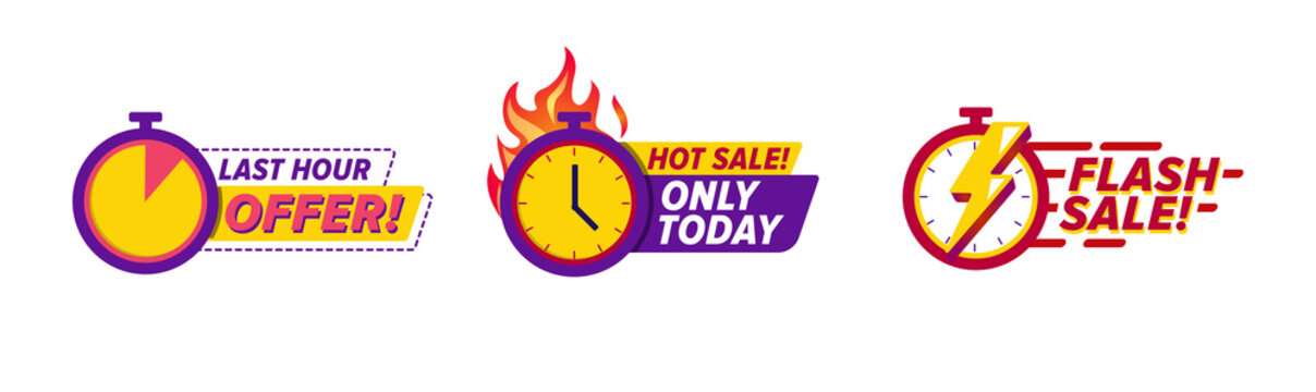 Flash Sale countdown badges sticker