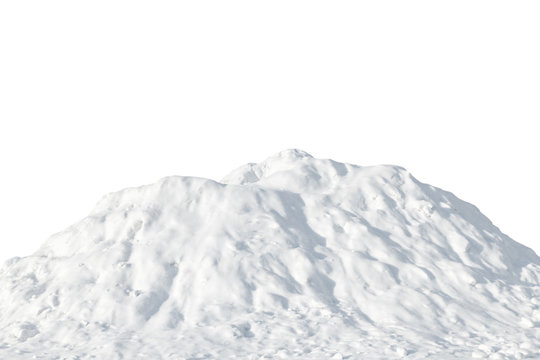 Pile of white snow on a white background