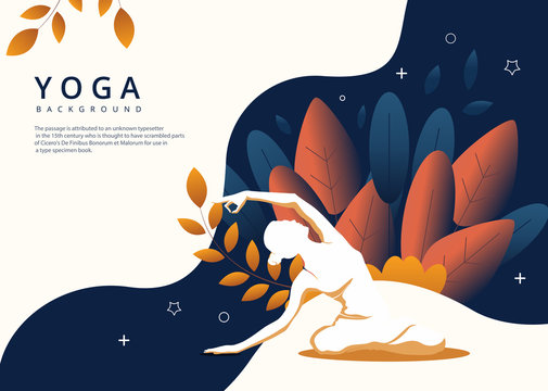 Vector image of a young woman doing yoga on a colorful abstract background.