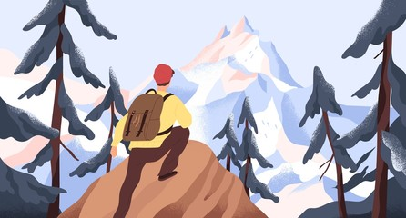 Foto auf AluDibond Weiß Mountain hiking flat vector illustration. Backpacker exploring wild nature. New horizons and goals concept. Man with backpack conquering peak in forest. Outdoor activity, discovery, exploration.