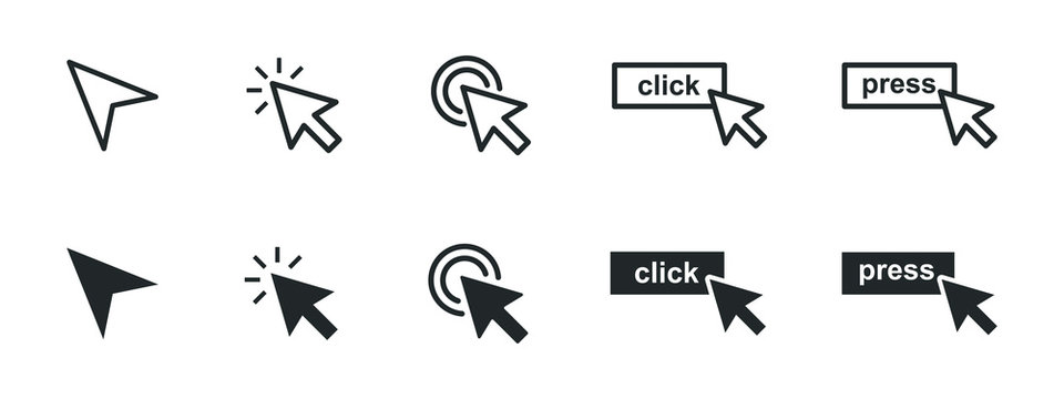 set of computer mouse click cursor icons