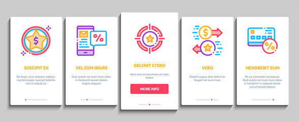 Bonus Hunting Onboarding Mobile App Page Screen. Magnifier And Bag With Percent Mark, Star, Diamond And Bonus Coins In Bottle Concept Illustrations