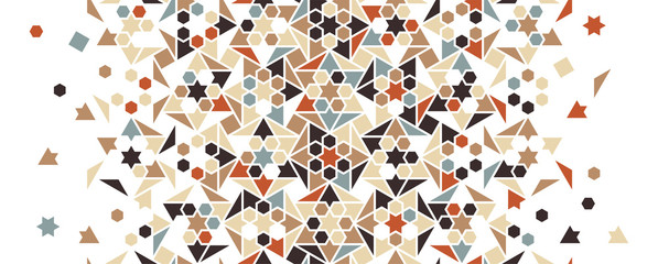 Arabesque vector seamless pattern. Geometric halftone texture with color tile and mosaic disintegration