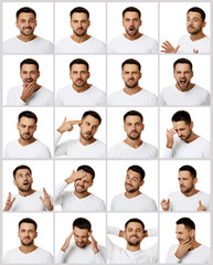 collage of portraits of handsome bearded man with different positive and negative emotions on white...