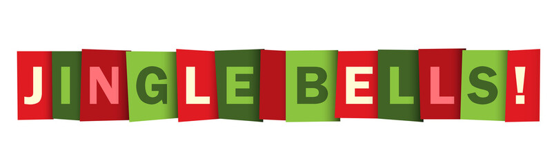 JINGLE BELLS red and green seasonal vector typography banner