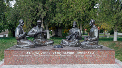 monument of folk poets in center of Samarkand