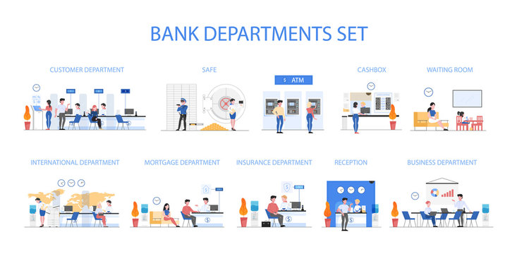 Bank departments set. People make financial operations in bank department.