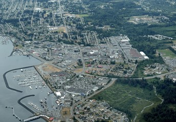aerial view of the harbour and downtown area, Campbell River; Vancouver Island BC Canada