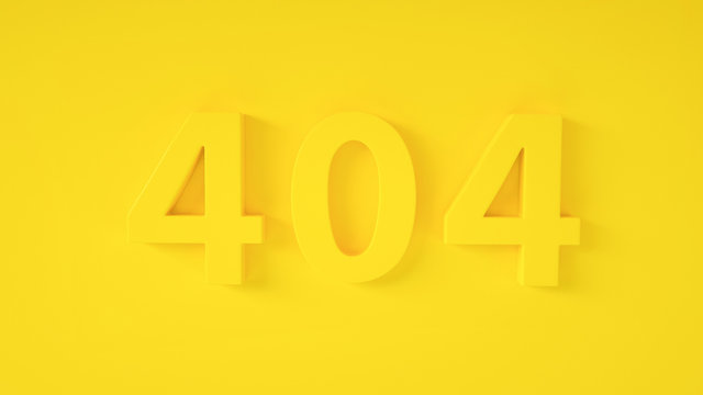 3D Error 404 page not found concept. Error opening the web page. Website under construction page. Yellow 404 on yellow background. Monochrome. Minimal idea concept. 3D illustration