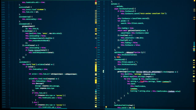 Java code of web page. Javascript programming concept. Frontend java code. Software computer programming code