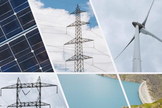 Ökologische und erneuerbare Energie Quellen Collage - Wasser, Wind und Sonnenenergie