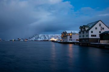 Coastal passenger ships arrive at Brønnøysund port in northern Norway