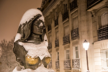 Image of nights in the city of Paris during the heavy snowfall of February 07, 2018.
