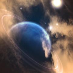 Fototapete - Exoplanet in vivid space. 3D rendering