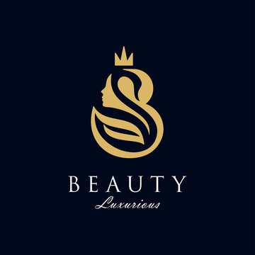 Initial B royal beauty queen woman face with swan and crown logo design vector, showing initial with lady face and swan on negative space