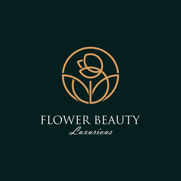 Luxurious beauty flower logo spa boutique salon cosmetic brand design vector, looped flower and leaves concept sign