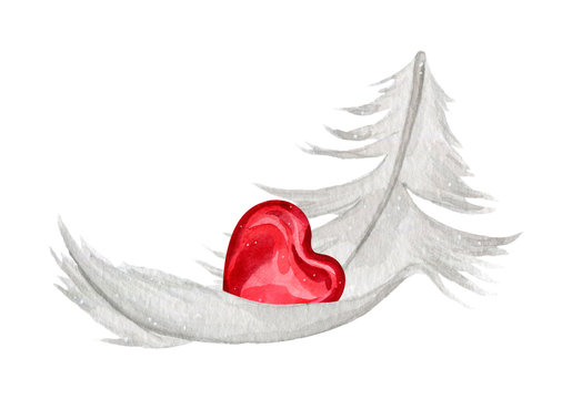 Watercolor illustration of soft white feather with red heart for Valentines day