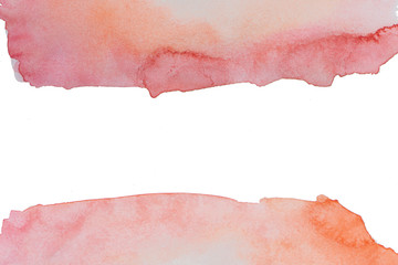 Watercolor background, orange, red, pink. The middle is free space.