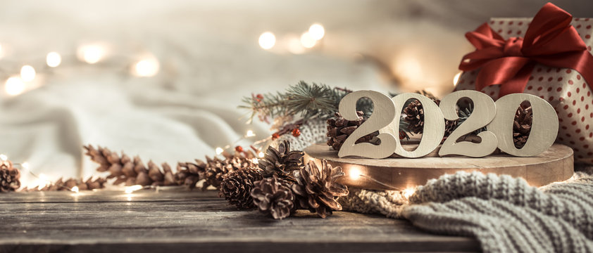 Background festive new year background with numbers 2020.