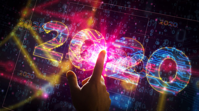 2020 year number cyber style futuristic illustration