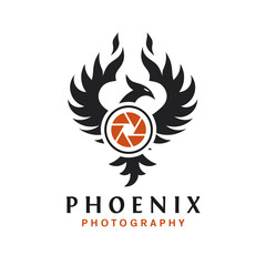 phoenix photography logo design , camera logo with phoenix bird vector concept