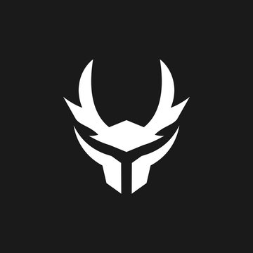 simple modern samurai helmet logo design