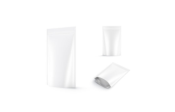 Blank blank plastic pouch mock up, different views