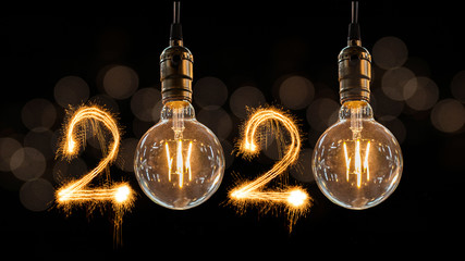 Poster de jardin Retro Luxury beautiful retro or vintage dirty light bulb decor hanging with 2020 Happy new year concept written number by sparkle firework