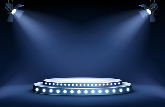 Round podium or stage in the rays of spotlights, realistic vector illustration. Pedestal for winner or award ceremony, empty platform for presentation, performance or show at night club, soon coming