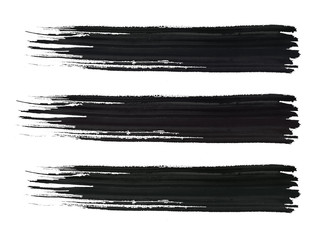 Black hand-drawn brushstrokes isolated on a white background. Three straight stripes