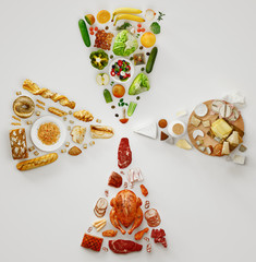 Various diet products, top view, 3d rendering