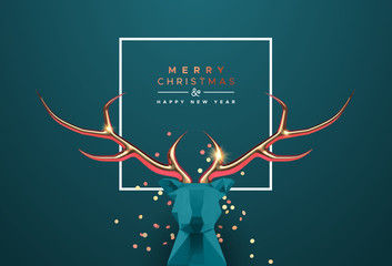 Wall Mural - Christmas new year 3d low poly copper deer head