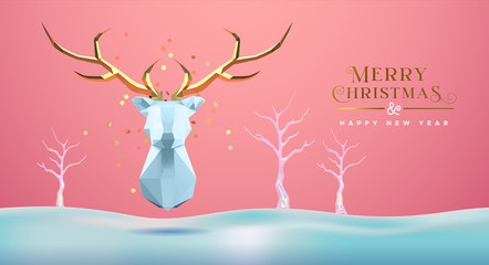 Wall Mural - Christmas New Year abstract 3d low poly gold deer