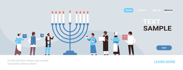 jews people standing together near menorah jewish men women in traditional clothes happy hanukkah concept judaism religious holidays celebration full length copy space horizontal vector illustration
