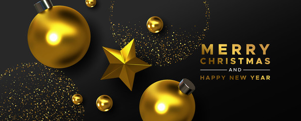 Wall Mural - Christmas New Year gold black 3d ornament card