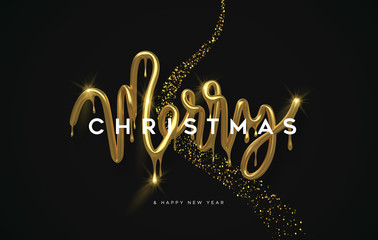 Wall Mural - Merry Christmas melted gold 3d type quote card