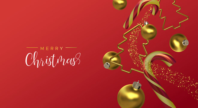 Christmas card of gold red 3d holiday decoration